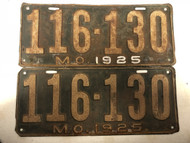 Pair of DMV Clear 1925 MISSOURI Passenger License Plates YOM Clear 116-130 MO