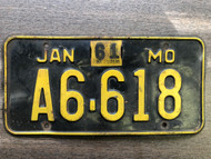 DMV Clear 1961 MISSOURI Passenger LLC License Plate YOM Clear A6-618 Cool # Two 61's MO