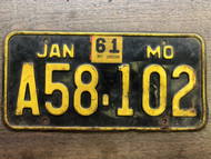 DMV Clear 1956-1961 MISSOURI Passenger License Plate YOM Clear A58-102 MO