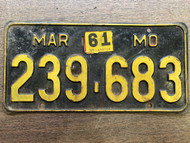DMV Clear 1956-1961 MISSOURI Passenger License Plate YOM Clear 239-683 MO