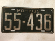 DMV Clear 1935 MISSOURI Shorty Passenger License Plate YOM Clear 55-436 MO