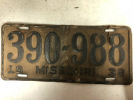 DMV Clear 1938 MISSOURI Passenger License Plate YOM Clear 390-988 MO