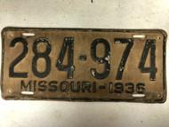 DMV Clear 1936 MISSOURI Passenger License Plate YOM Clear 284-974 MO