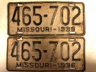 PAIR of DMV Clear 1936 MISSOURI Passenger License Plates YOM Clear 465-702 MO
