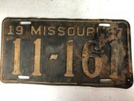 1937 MISSOURI License Plate 11-161