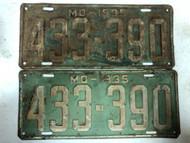 PAIR of DMV Clear 1935 MISSOURI Passenger License Plates YOM Clear 433-390 MO