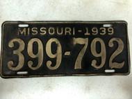 DMV Clear 1939 MISSOURI Passenger License Plate YOM Clear 399-792 MO