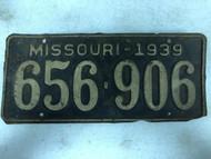 DMV Clear 1939 MISSOURI Passenger License Plate YOM Clear 656-906 MO