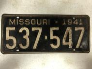 DMV Clear 1941 MISSOURI Passenger License Plate YOM Clear 537-547 MO