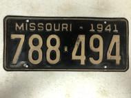 DMV Clear 1941 MISSOURI Passenger License Plate YOM Clear 788-494 MO