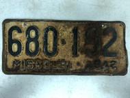 DMV Clear 1942 MISSOURI Passenger License Plate YOM Clear 680-192 MO