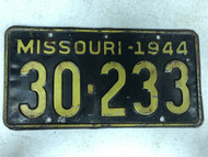 DMV Clear 1944 MISSOURI Passenger Shorty License Plate YOM Clear 30-233 MO