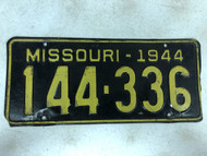 DMV Clear 1944 MISSOURI Passenger License Plate YOM Clear 144-336 MO