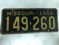 DMV Clear 1944 MISSOURI Passenger License Plate YOM Clear 149-260 MO