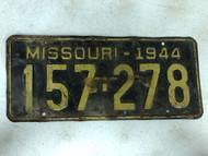 DMV Clear 1944 MISSOURI Passenger License Plate YOM Clear 157-278 MO