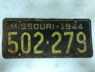 DMV Clear 1944 MISSOURI Passenger License Plate YOM Clear 502-279 MO