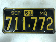 DMV Clear September 1956-1961 MISSOURI Passenger License Plate YOM Clear 711-772 MO