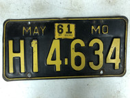 May 1956-1961 Tag MISSOURI Plate License Plate H14-634