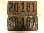 1920 MISSOURI License Plates 20-181 PAIR