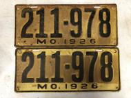 PAIR of DMV Clear 1926 MISSOURI Passenger License Plates YOM Clear 211-978 MO