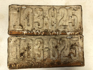 PAIR of DMV Clear 1924 MISSOURI Passenger License Plates YOM Clear 103-825 MO
