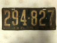 DMV Clear 1925 MISSOURI License Plate YOM Clear 294-827 MO