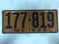 DMV Clear 1928 MISSOURI Model A Ford Passenger License Plate YOM Clear 177-819 MO