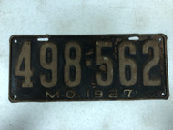 DMV Clear 1927 MISSOURI Passenger License Plate YOM Clear 498-562 MO