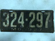 DMV Clear 1927 MISSOURI Passenger License Plate YOM Clear 324-297 MO