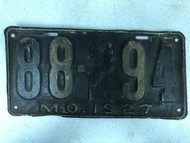 DMV Clear 1927 MISSOURI Shorty Passenger License Plate YOM Clear 88-294 MO