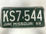 DMV Clear June 1968 MISSOURI Passenger License Plate YOM Clear KS7-544 MO