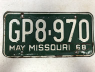 DMV Clear May 1968 MISSOURI Passenger License Plate YOM Clear GP8-970 MO