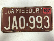 DMV Clear June 1967 MISSOURI Passenger License Plate YOM Clear JA0-993 MO