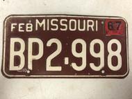 DMV Clear February 1967 MISSOURI Passenger License Plate YOM Clear BP2-998 MO