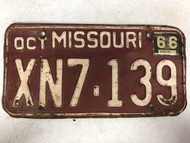 DMV Clear October 1966 MISSOURI Passenger License Plate YOM Clear XN7-139 MO