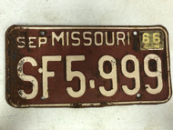 DMV Clear September 1966 MISSOURI Passenger License Plate YOM Clear SF5-999 MO Cool # 9's Nine