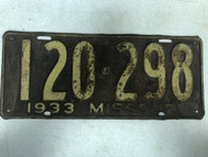 DMV Clear 1933 MISSOURI Passenger License Plate YOM Clear 120-298 MO
