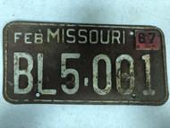 DMV Clear February 1967 MISSOURI Passenger License Plate YOM Clear BL5-001 MO