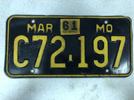 DMV Clear March 1961 MISSOURI Passenger License Plate YOM Clear C72-197 MO