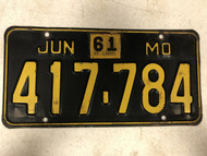 DMV Clear June 1961 MISSOURI Passenger License Plate YOM Clear 417-784 MO