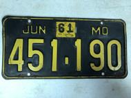 DMV Clear June 1961 MISSOURI Passenger License Plate YOM Clear 451-190 MO