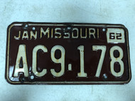 DMV Clear January 1962 MISSOURI Passenger License Plate YOM Clear AC9-178 MO