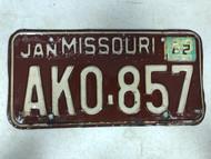 DMV Clear January 1963 MISSOURI Passenger License Plate YOM Clear AK0-857 MO