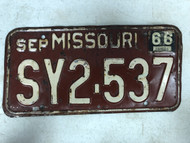 DMV Clear September 1966 MISSOURI Passenger License Plate YOM Clear SY2-537 MO
