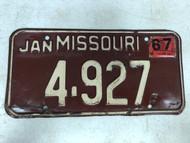 DMV Clear January 1967 MISSOURI Passenger License Plate YOM Clear 4-927 MO