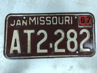 DMV Clear January 1967 MISSOURI Passenger License Plate YOM Clear AT2-282 MO