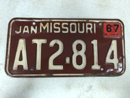 DMV Clear January 1967 MISSOURI Passenger License Plate YOM Clear AT2-814 MO