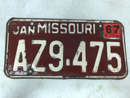 DMV Clear January 1967 MISSOURI Passenger License Plate YOM Clear AZ9-475 MO