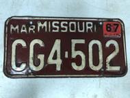DMV Clear March 1967 MISSOURI Passenger License Plate YOM Clear CG4-502 MO