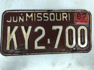 DMV Clear June 1967 MISSOURI Passenger License Plate YOM Clear KY2-700 MO